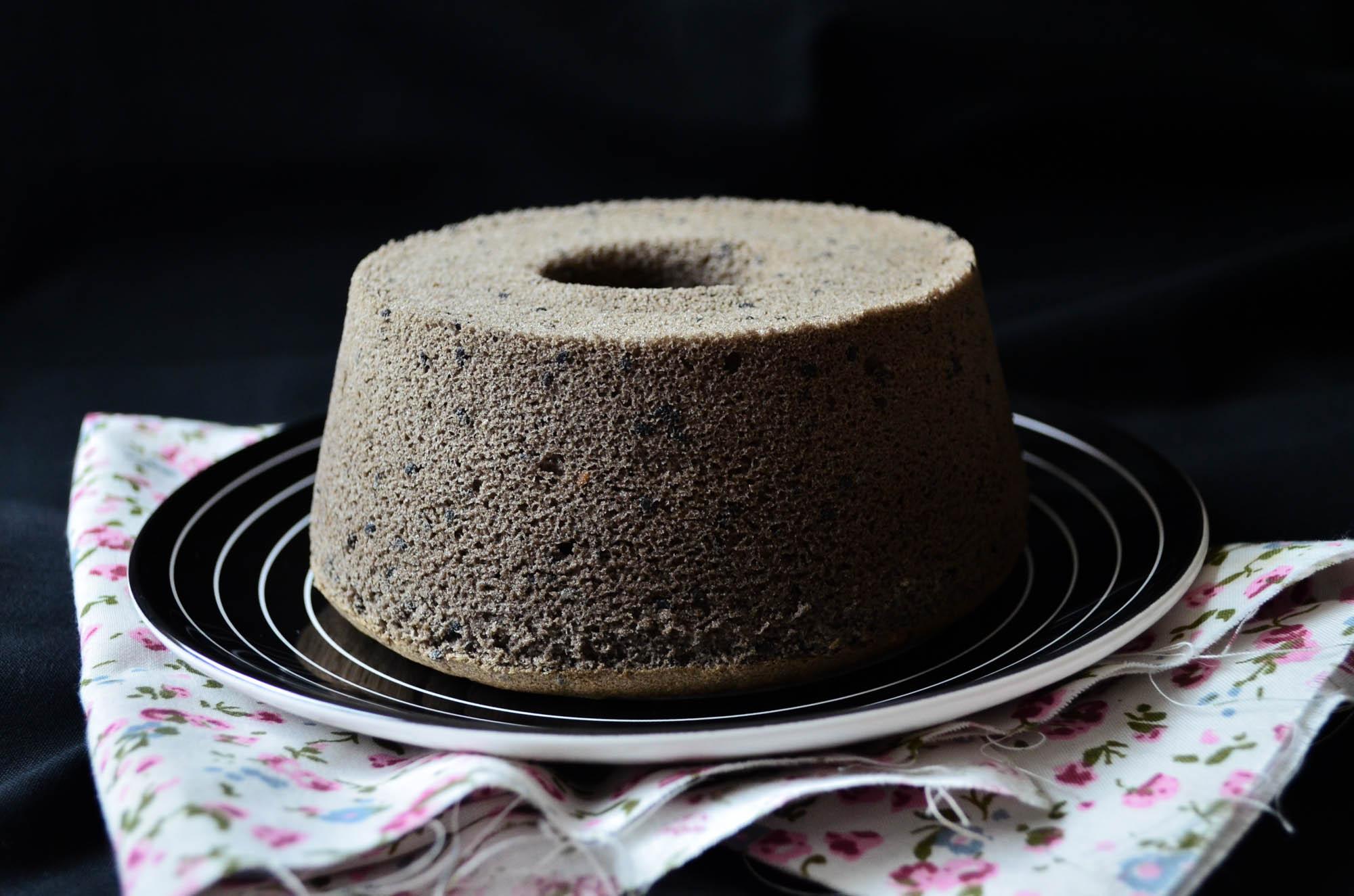 whole black sesame chiffon cake on plate