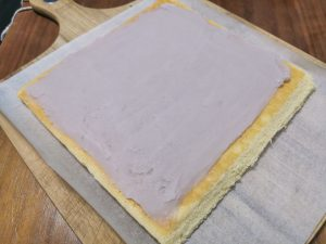 taro spread on sponge cake