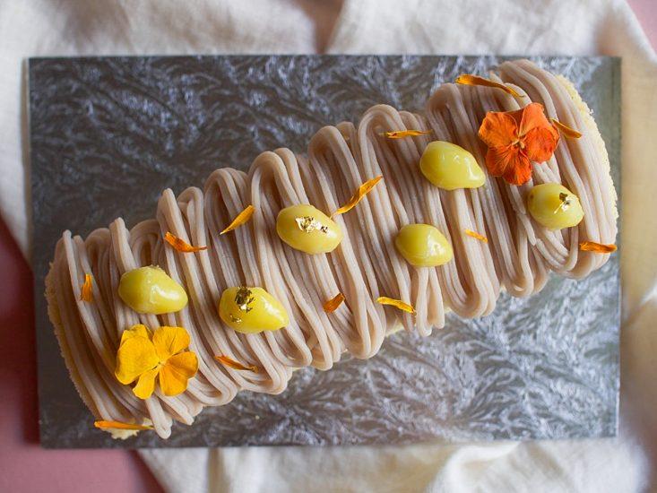 Taro Mont Blanc Roll Cake