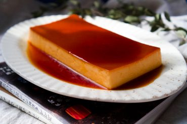 Japanese purin on serving plate