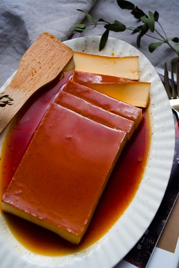 Japanese purin on plate with few slices