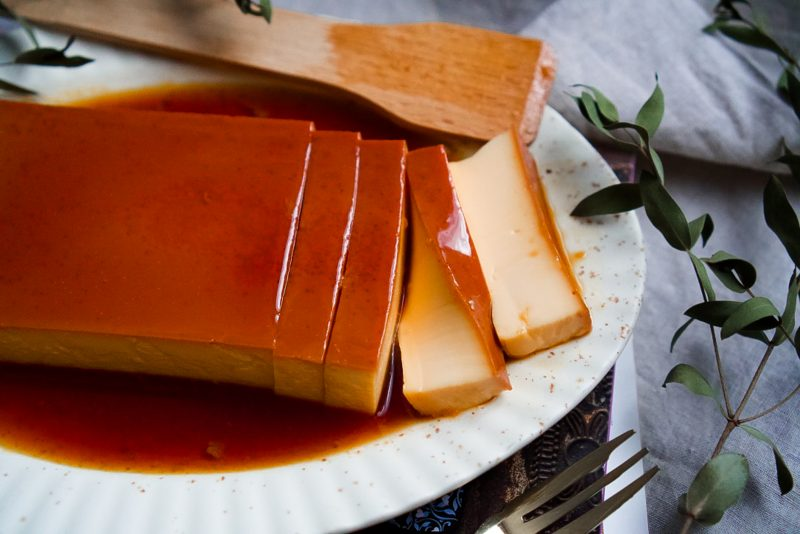 Japanese purin in cut slices