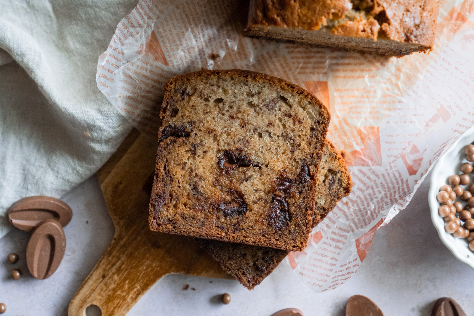 banana bread with chocolate in slice